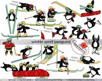Winter Sport Penguins: Clip Art Pack (300 dpi) Digital Images (transparent png files) Skiing Hockey Curling Figure Skating Luge Bobsled