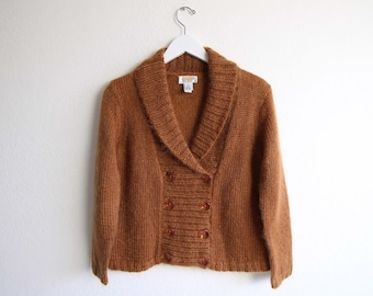 VINTAGE Sweater Mohair Cardigan Fuzzy 1990s Burnt Sienna Womens Small