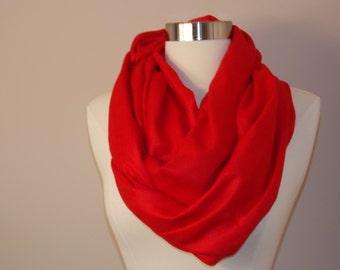 Red pashmina scarf/red infinity scarf/pashmina infinity scarf
