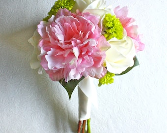 Peony and Mums Bouquet (Pink, Ivory, Green, Chartreuse) 8'' across Real Touch Peony Bridal Bouquet