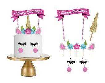 Unicorn Cake Topper Picks Decoration