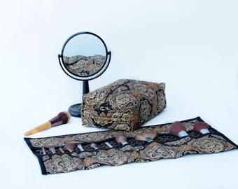 Makeup bag organizer/ makeup bag set/travel bag/ cosmetic bag/ makeup brush roll