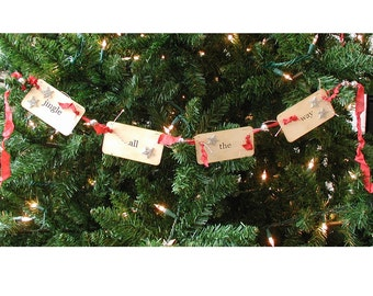 Jingle all the Way flash card ornament/garland (red)