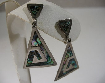 Vintage Mexican Sterling Silver & Abalone Screwback Earrings