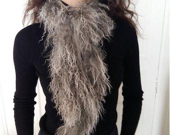 Snow grey mongolia fur strip as scarf