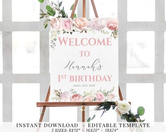 Welcome Sign Birthday Welcome Sign Printable Template Birthday Party Sign Romantic Blush Light Pink Watercolor Flowers Editable Welcome Sign