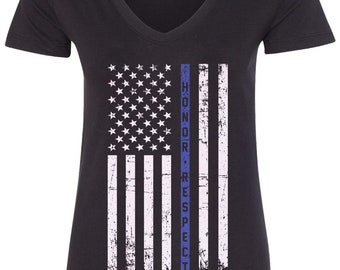 Honor & Respect Thin Blue Line American Flag Women's V-Neck Fitted T-Shirt