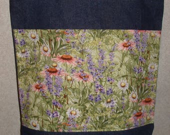 New Large Handmade Wildflowers Wild Flowers Floral Denim Tote Bag