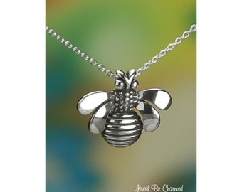 "Sterling Silver Bee Necklace with 16-24"" Chain or Pendant Only .925"
