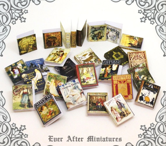 28 Fairy Tales Dollhouse Miniature Book Cover Set 5 28 FAIRY
