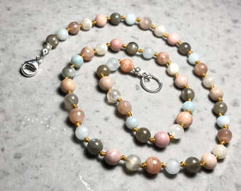 """19"""" I Am Survivor// A Woman's Story // Self Empowerment //  Adult Gemstone Beaded Necklace // Hand Knotted"""
