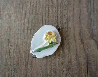 Ceramic connector -pendant Flower Narcissus.Ceramic handmade