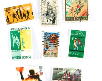 8 x Basketball postage stamps - from 8 countries, used, off paper, all different - Ball Sports - for collecting, crafts, scrapbook