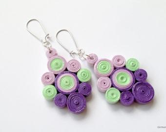 Ombre Purple Dangle Paper Earrings, Summer Statement Quilled Paper Earrings, DIY Paper Quilling Jewelry
