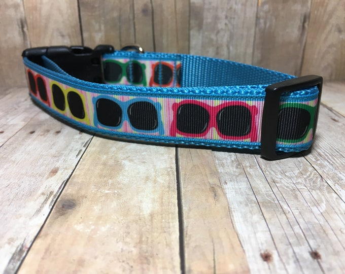 "The Zazzie | Designer 1"" Width Dog Collar | CupcakePups Collars | Medium/Large Dog Collar | Colorful Shades"