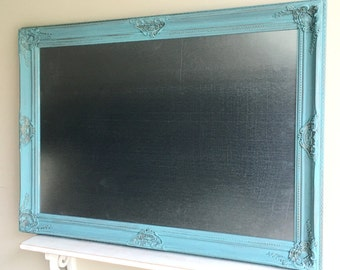 Turquoise SILVER MAGNET BOARD Industrial Wall Decor Teal Blue Modern Kitchen Large Dry Erase Board Metal Steel Wood Framed Laundry Room