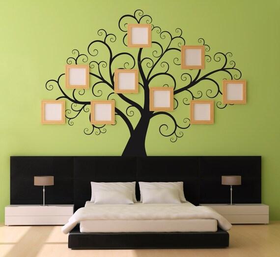 Adesivi di swirly treewall grande decal per camere da letto - Stencil testiera letto ...