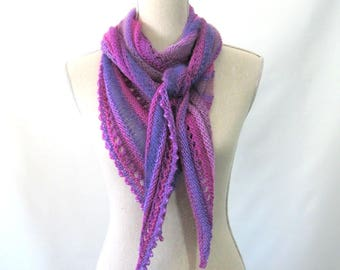 Merino Mohair Skinny Triangle Shawl Style Scarf Neckwrap with Beads  -  Fuchsia Pink, Periwinkle, Lavender Mochi