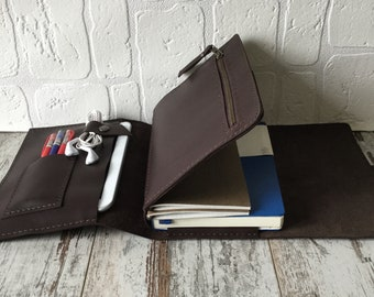 Brown Leather A5 Folio for Large Moleskine and Medium Leuchtturm1917, Leather Portfolio, Leather Folder,  Leather Journal, Business Folio