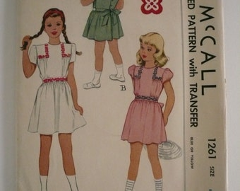 Antique McCall Pattern 1261 Girls Short Sleeved Dress with Embroidery Transfer Size 8 Factory Fold