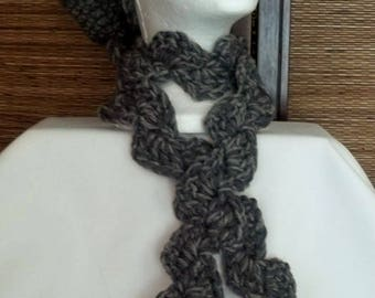 Gray Brimmed Crochet Hat Cap (#77)