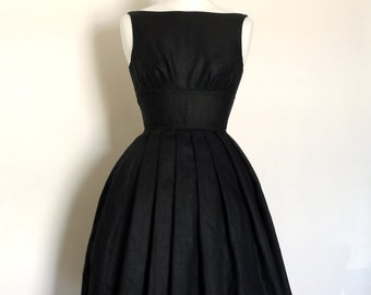 Pure Black Linen 1950s Full Skirt Tiffany Prom Dress - Made by Dig For Victory