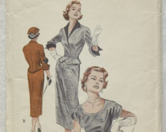 Size 12 Bust 30, Waist 25 Vintage Butterick Sewing Pattern 6725 Sheath Dress and Nip-Waisted Jacket