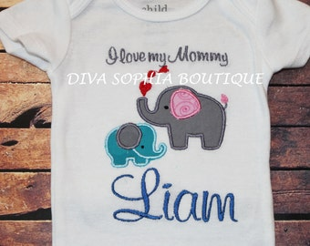 Personalized Mommy and Baby Elephant Creeper or T-shirt