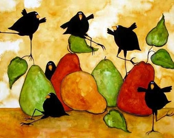 Farmhouse Crow Raven Blackbird Pear Fruit Debi Hubbs Folk Art Kitchen Whimsical Dance