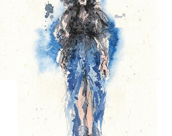 Black and blue - original fashion-illustration