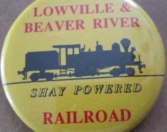 Vintage Lowville and Beaver River Railroad Pinback Button 1992