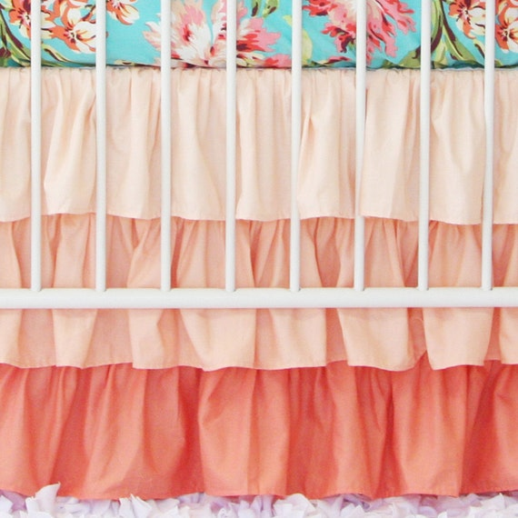 Coral Gradient Ombre Ruffle Crib Skirt Peach Coral