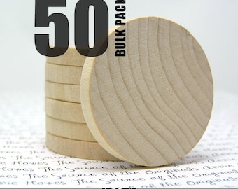 50 Round 1.5 Inch Wood Disks for Pendants, Magnets, Scrapbooking, and More. FLAT SIDES. Bulk Lot.