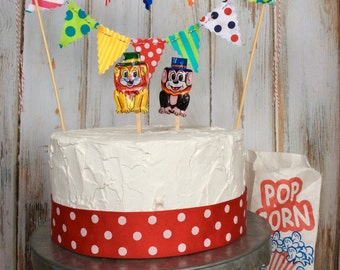 Cake Bunting Circus Theme multi colored polka dots stripes and swirls, kids birthday cake topper carnival cake decoration
