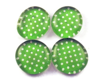 Funky Refrigerator Magnets Glass Marble Magnets in  Lime Polka Dots (M96)