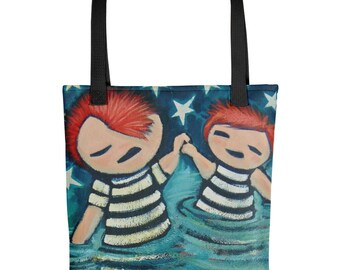 Blue Tote bag, art book bag, valentine gift, Ginger Couple gift, stars and stripes, cute carry all, swimming bag, shopping tote, romanctic