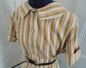Vintage 40s Style Striped Button Down Shirtwaist Dress
