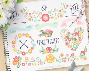 Spring Laurels and Wreaths Clipart, Vintage Flowers, Wedding, Mother's Day, Commercial Use, Vector clip art, SVG Cut Files
