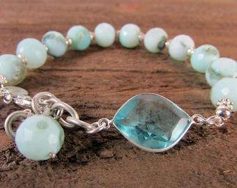 Blue Peruvian Opal & Topaz Bracelet, Blue Opal and Sterling silver, Gemstone Jewelry, December Birthstone