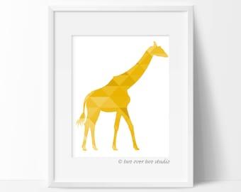 Yellow Giraffe Print, Triangle Geometric Wall Art, Safari Nursery, Playroom Decor
