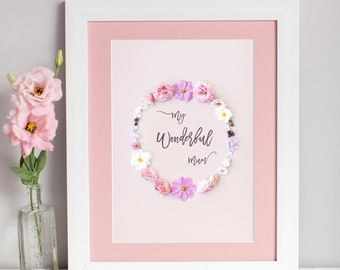 My Wonderful Mum Print | Floral Print for Mum | A5/ A4 Wall Art | Mothers Day Gift | Present for Mum