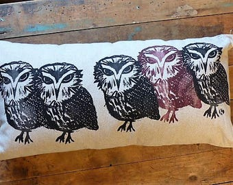 Linen OWL pillow cover / Linen Owl cushion / OWL / OWL / hand screen printed / Screening print / Hand made/home decor