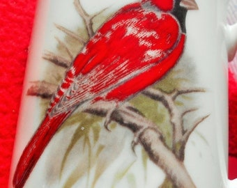 FLASH SALE Red Cardinal Bird Coffee Mug, Chadwick Porcelain Cup