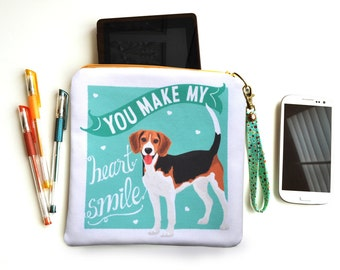 Beagle Art Padded Pouch, Clutch Bag- You Make My Heart Smile