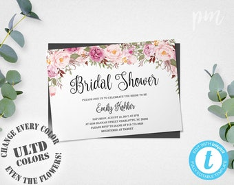 Rustic floral bridal shower invitation template printable floral bridal shower invitation template printable bridal shower template bridal shower invite flowers instant download wedding shower stopboris Choice Image