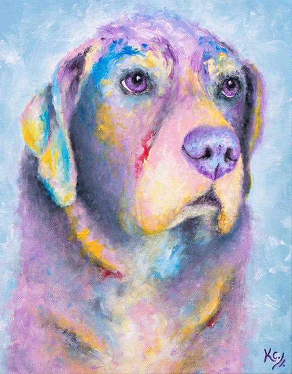 "Labrador Retriever Art - Labrador Retriever Gifts, Black Lab Dog Art, Labrador Retriever Dog Wall Art, Art Print of My Dog Painting ""Myrtle"""