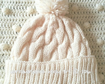 Hand Knitted Hat Ivory Wooly Pom-pom Christmas present