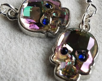 Purple crystal skulls, sugar skulls, Dia De Los Muertos, day of the dead dangle earring