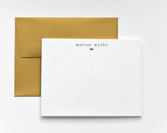 MARCUS Letterpress Flat Stationery Set - Modern Note Cards - Goldenrod Forum