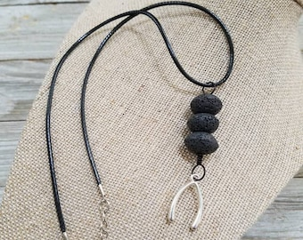 Wishbone Charm, Essential Oils diffuser necklace, Personal Diffuser Jewelry, Lava stones, Aromatherapy Jewelry.